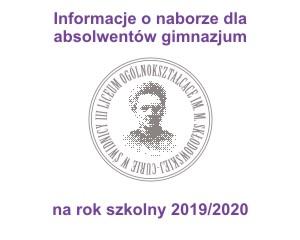 Informacja o naborze 2019/2020 dla absolwentów gimnazjum