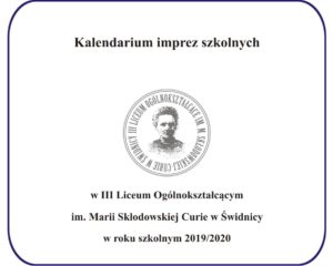 Kalendarium imprez szkolnych 2019/2020