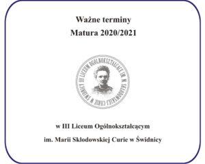 Ważne terminy – Matura 2020/2021